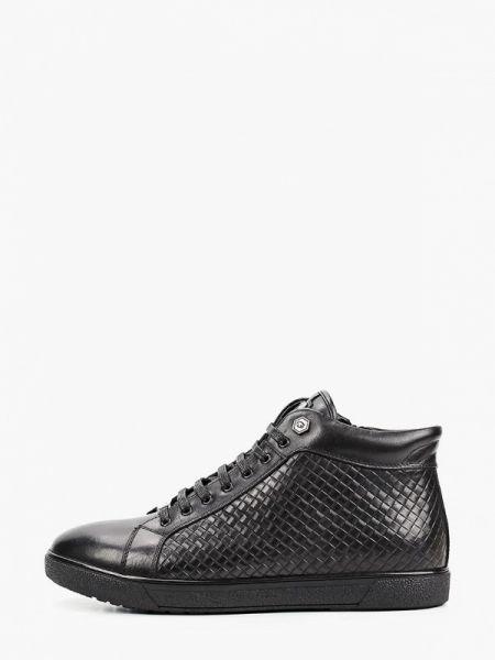 Кожаные черные высокие кроссовки Guido Grozzi
