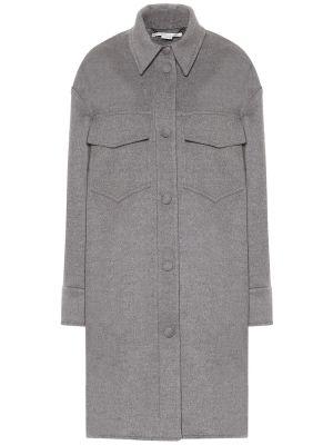 Серое шерстяное пальто с американской проймой Stella Mccartney