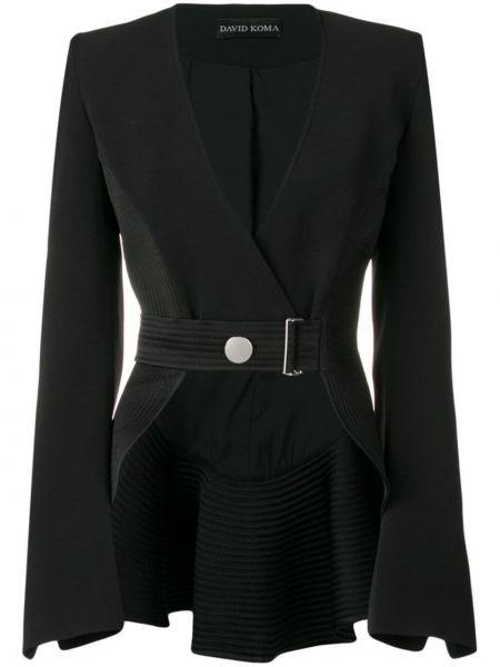Черный приталенный пиджак с поясом David Koma