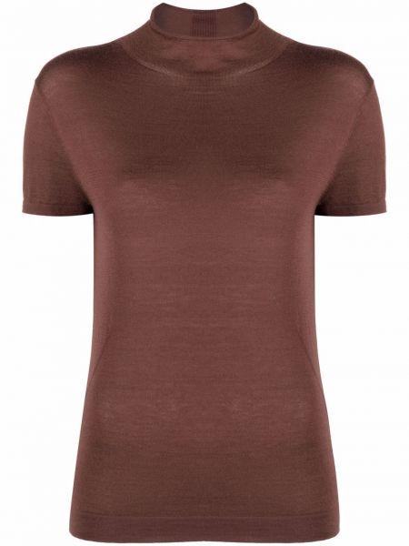 Коричневая прямая футболка с воротником N.peal
