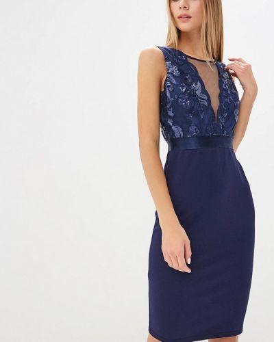 Вечернее платье осеннее синее City Goddess