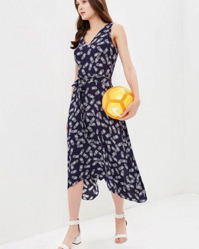 Платье миди осеннее синее Wallis