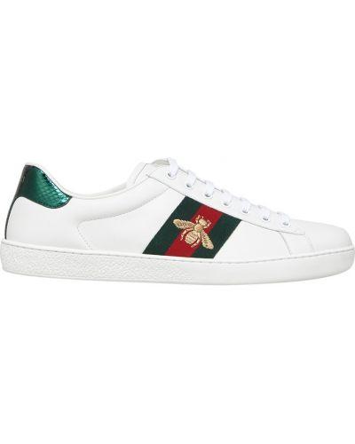 Кожаные кроссовки с логотипом с вышивкой Gucci