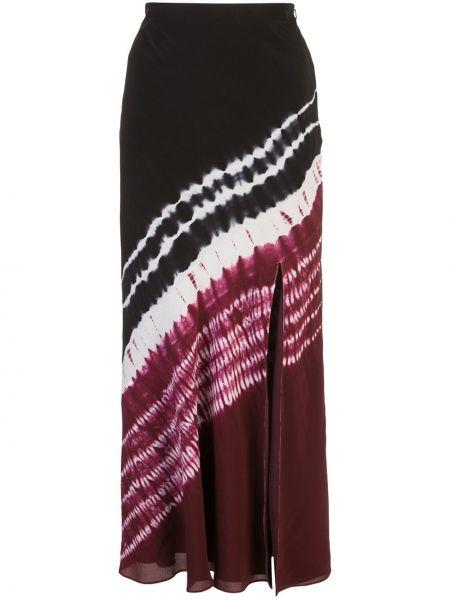 Шелковая черная с завышенной талией юбка миди с разрезом Altuzarra