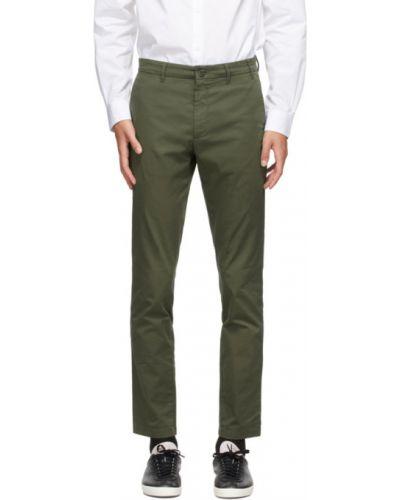 Zielony bawełna bawełna spodnie z paskiem Norse Projects