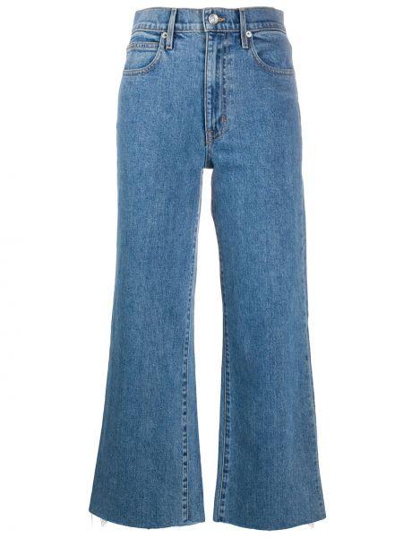 Хлопковые синие с завышенной талией укороченные джинсы на молнии Slvrlake