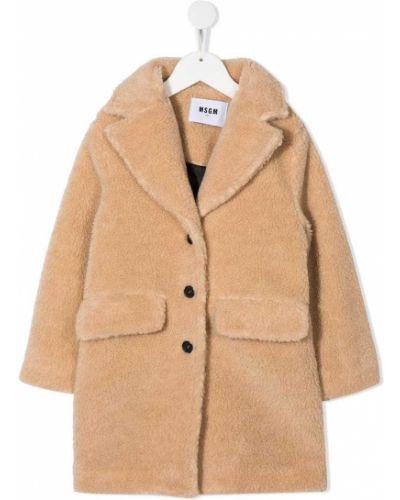 Коричневое шерстяное пальто с воротником Msgm Kids