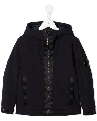 Классическая прямая черная куртка с капюшоном с нашивками Cp Company Kids