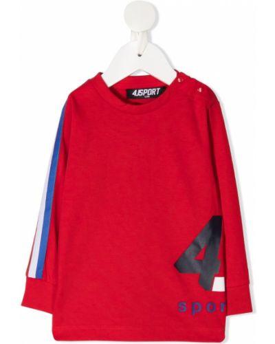 Прямой красный топ в рубчик с круглым вырезом Cesare Paciotti 4us Kids
