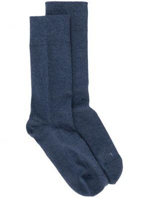 Хлопковые темно-синие вязаные носки круглые Falke