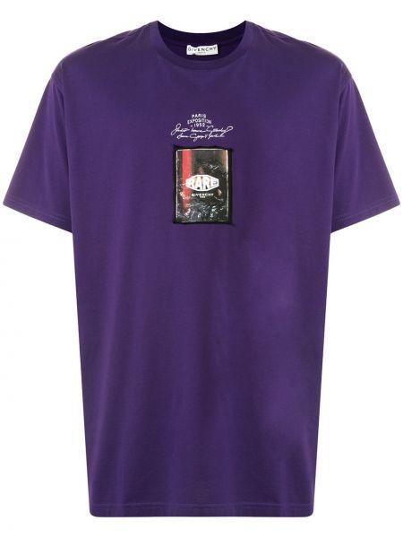 Bawełna prosto fioletowy koszula z krótkim rękawem okrągły dekolt Givenchy