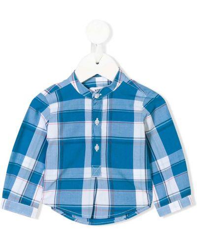 Хлопковая с рукавами синяя туника с длинными рукавами на пуговицах Knot