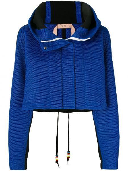 Синяя короткая куртка на молнии с капюшоном N21
