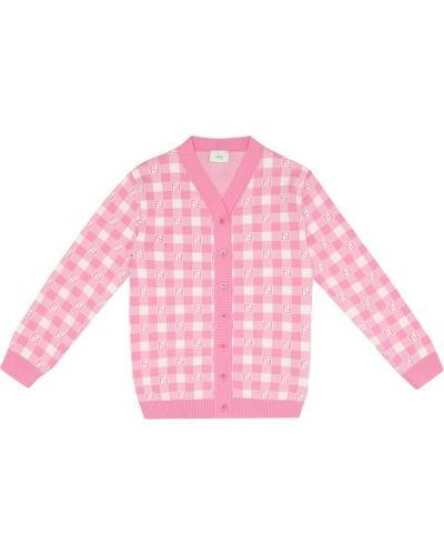 Różowy kardigan bawełniany Fendi Kids