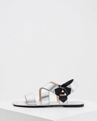Кожаные сандалии - серебряные Pollini