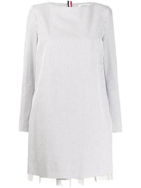 Brązowa sukienka mini z długimi rękawami bawełniana Thom Browne