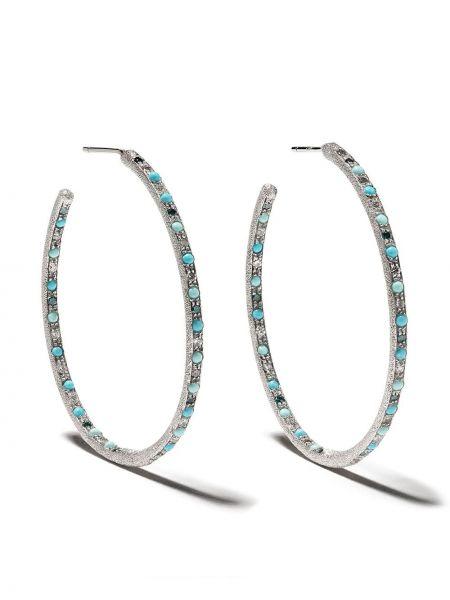 Белые серьги-кольца с бриллиантом Carolina Bucci