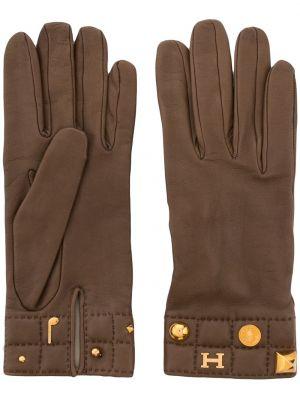Коричневые кожаные перчатки с заклепками Hermes