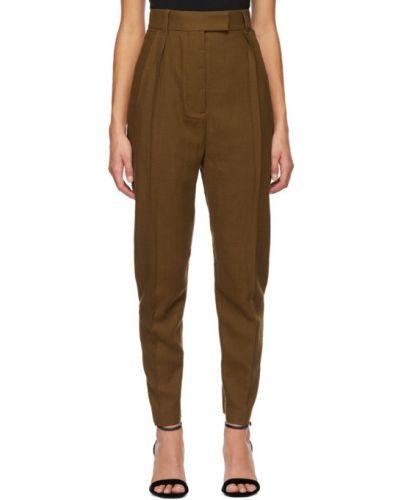 Шерстяные брючные коричневые брюки с карманами Haider Ackermann