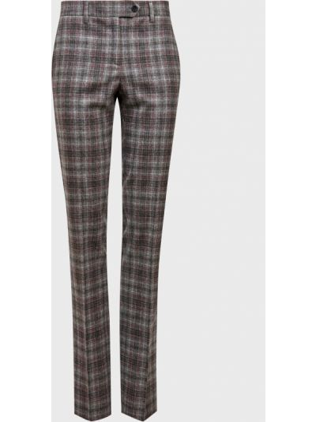Шерстяные серые брюки на пуговицах Kiton