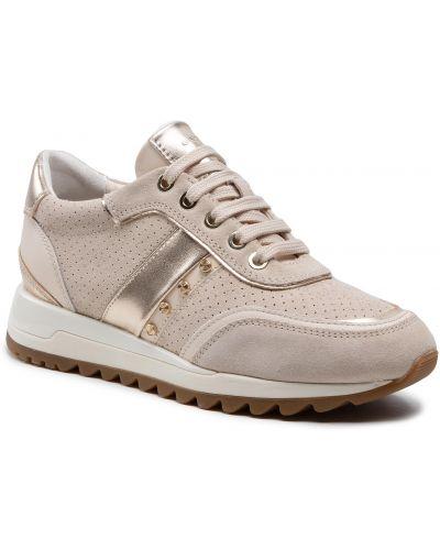 Buty sportowe skorzane - beżowe Geox