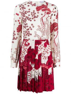 Белое платье мини в цветочный принт с вырезом Red Valentino