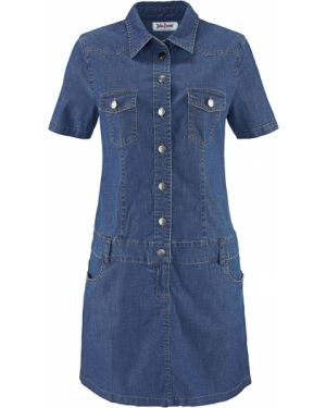 Джинсовое платье с карманами синее Bonprix