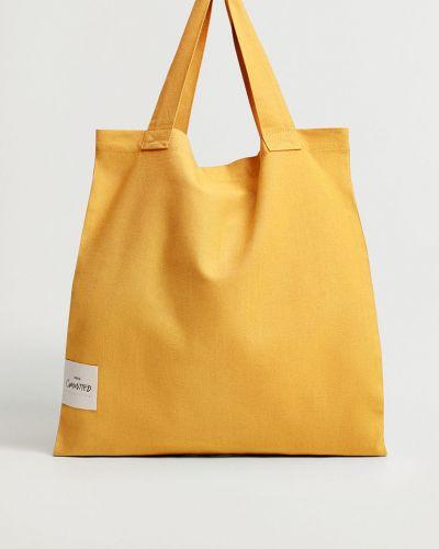 Żółta torba z krótkimi uchwytami bawełniana Mango