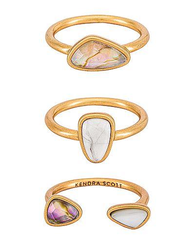 Biały złoty pierścionek pozłacany Kendra Scott