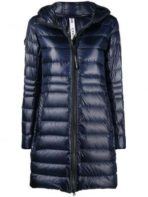 С рукавами синее пальто классическое с капюшоном Canada Goose