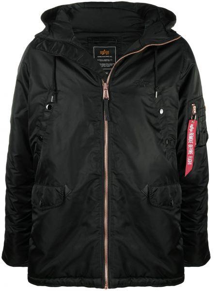 С рукавами черная длинная куртка с капюшоном Alpha Industries