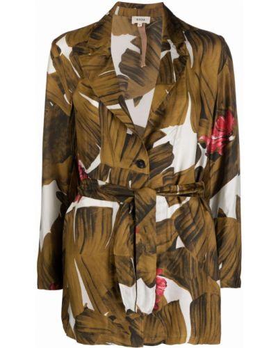 Белая длинная куртка с принтом из вискозы Diega