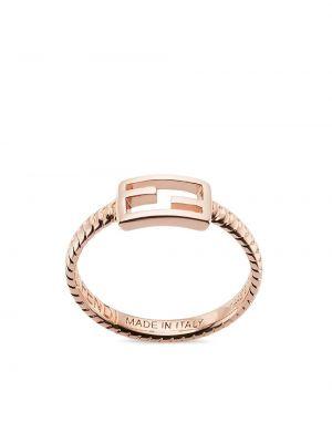 Różowy złoty pierścionek Fendi