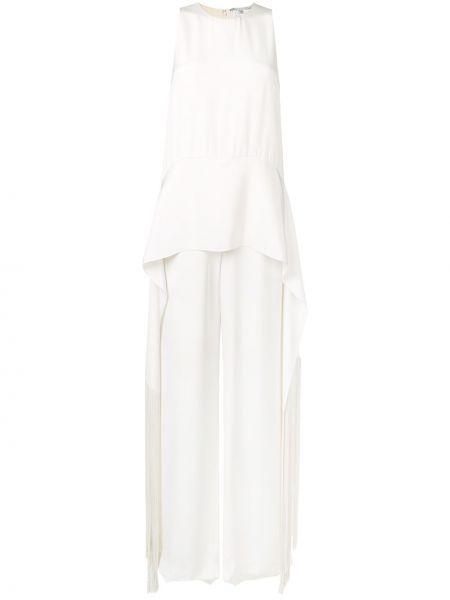 Biały kombinezon bez rękawów z jedwabiu Stella Mccartney