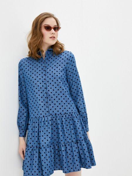 Джинсовое платье платье-рубашка синее Ichi