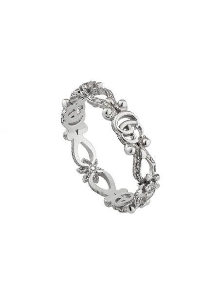 Biały złoty pierścionek z diamentem Gucci