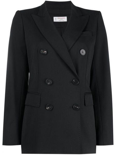 Черный удлиненный пиджак двубортный с карманами Alberto Biani