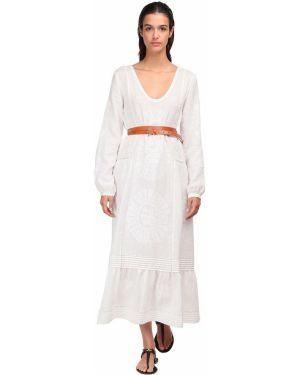 Платье миди с вышивкой с декольте с воротником на молнии Vita Kin