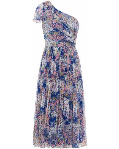 Плиссированное синее платье миди на крючках Mikael Aghal