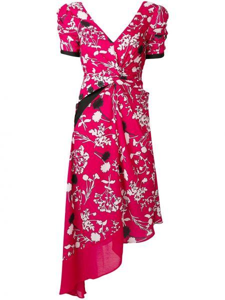 Платье миди розовое с цветочным принтом Self-portrait