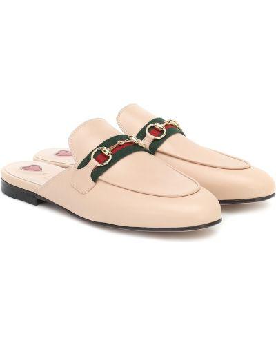 Miękki skórzany różowy kapcie Gucci