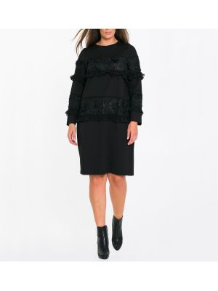 Черное платье миди оверсайз с длинными рукавами с вырезом Mat Fashion