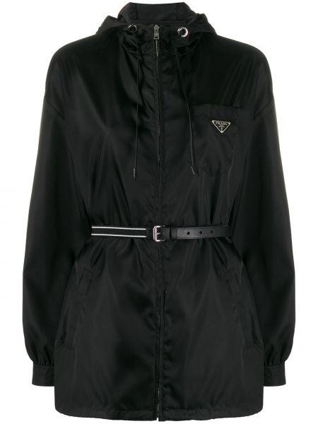 Кожаная куртка с капюшоном - черная Prada