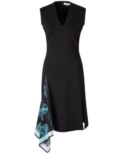 Prążkowana czarna sukienka midi dzianinowa Givenchy
