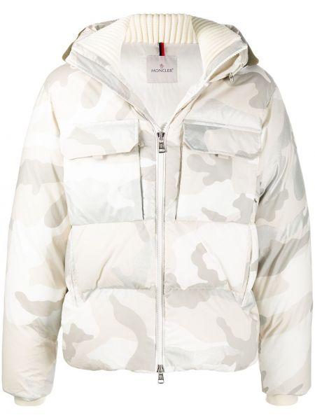 Puchaty prosto klasyczny biały kurtka z kapturem Moncler