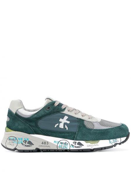 Зеленые кожаные кроссовки с сеткой Premiata
