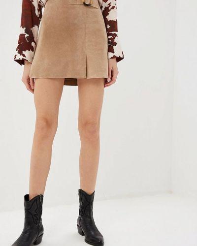 Кожаная юбка весенняя бежевый Mango