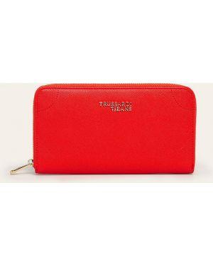 Czerwony portfel skórzany oversize Trussardi Jeans