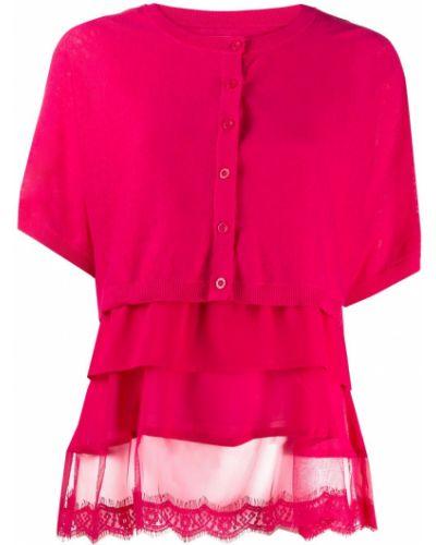 Ажурный розовый вязаный кардиган на пуговицах круглый Twin-set