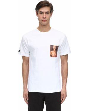 Prążkowany biały t-shirt bawełniany 1800-paradise